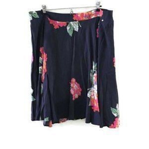 BODEN Navy Floral Swing Skirt